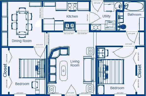 Home Floor Plan 864 Sq Ft 2 Bedroom 1 Bathroom House Layout Plans Simple Floor Plans Three Bedroom House Plan