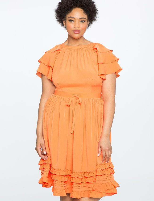 95fbc573641 Ruffles and Pintucks Fit and Flare Dress from eloquii.com