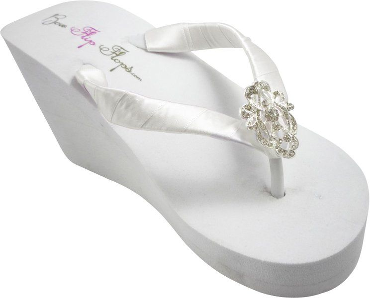 e4a8aa8ec80e3 High Wedding Flip Flop Wedges, 3.5 inch Heel, Vintage Lace Bling ...
