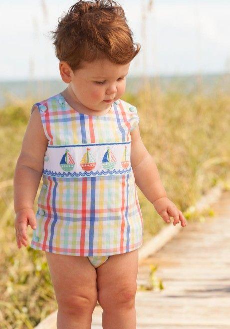 c54698270824 sailboat diaper set boys smocked classic preppy plaid bloomers ...