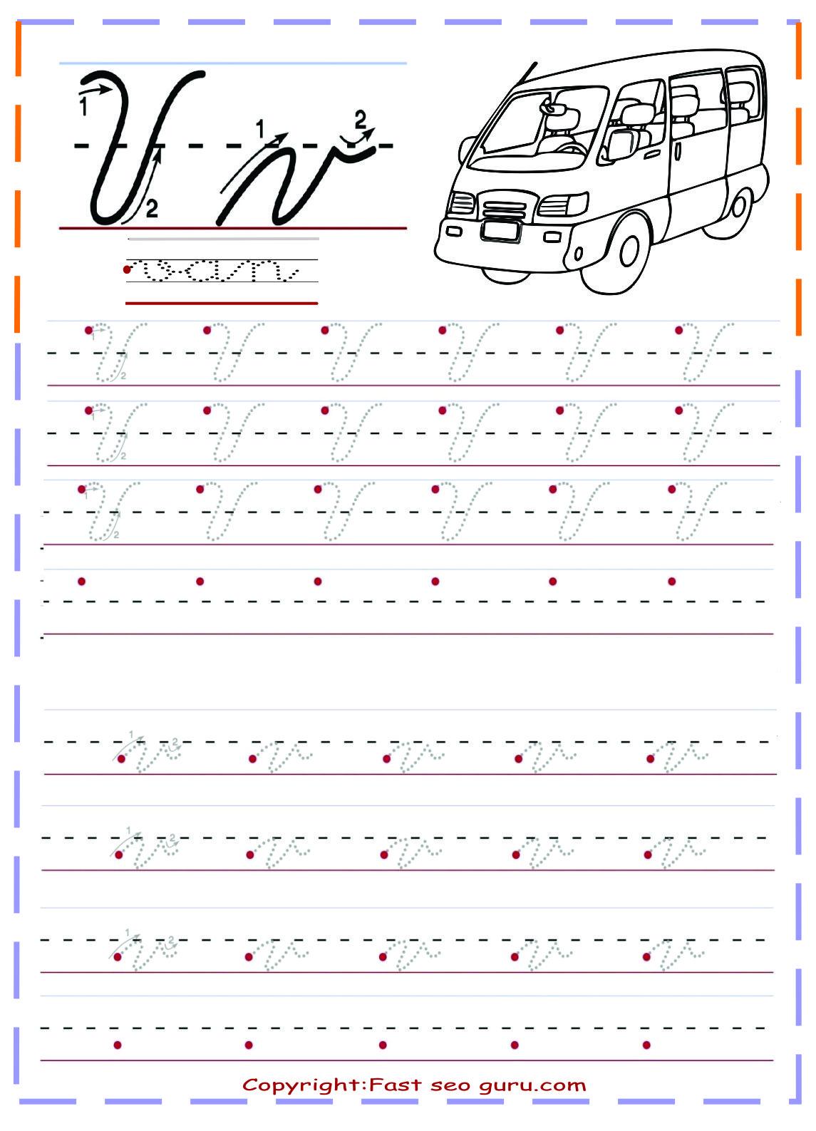 Cursive Handwriting Tracing Worksheets Letter V For Van