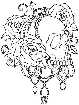 Roses, gems, and a skull make up a spookily pretty design