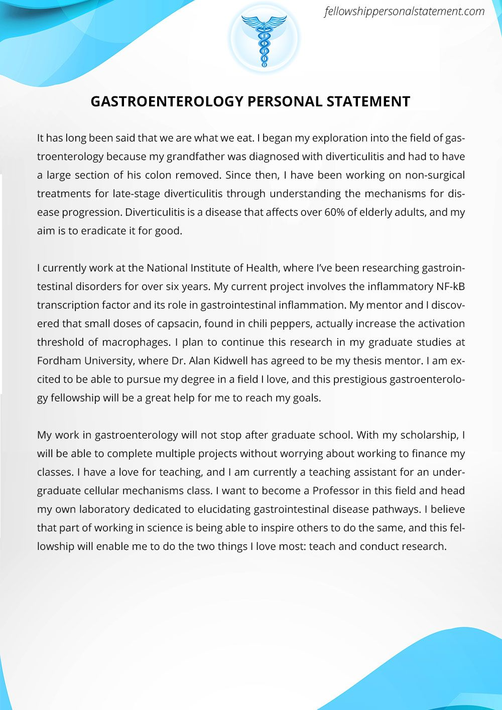personal statement for fellowship pdf