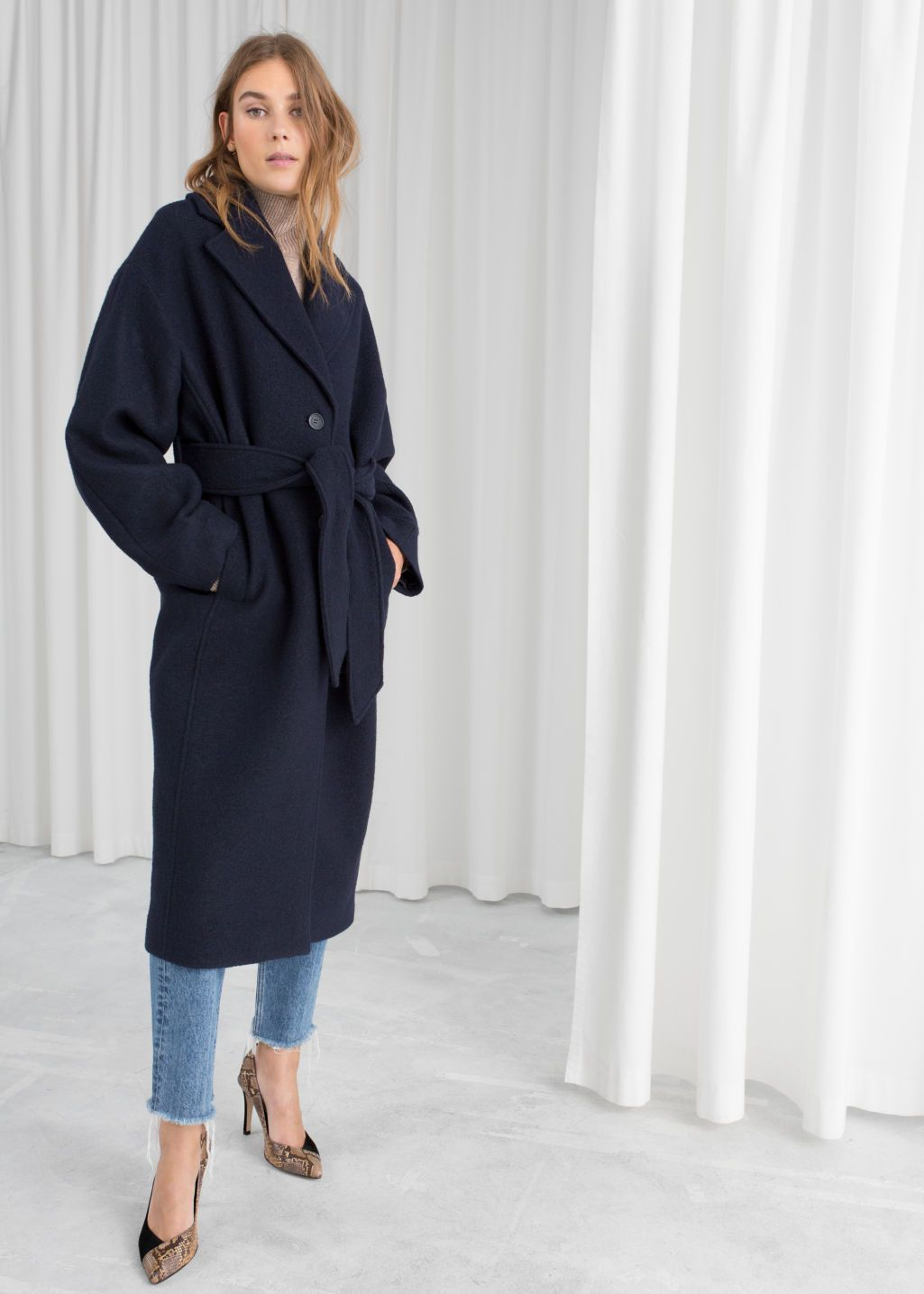 Belted Wool Coat   Belted coat outfit, Wool coat, Navy wool coat