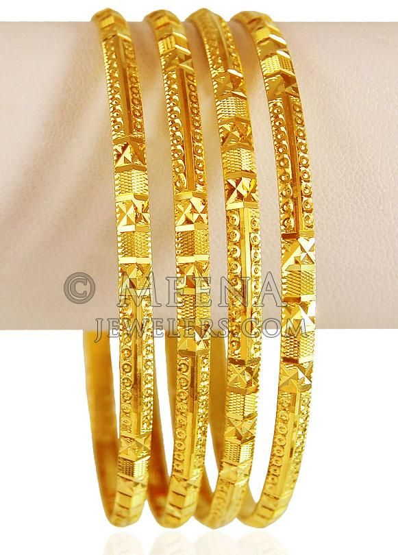 22 Kt Gold Bangles Set 4 Pcs Set Of Bangles Gold Bangle Set 22k Gold Bangles Gold Bangles Design