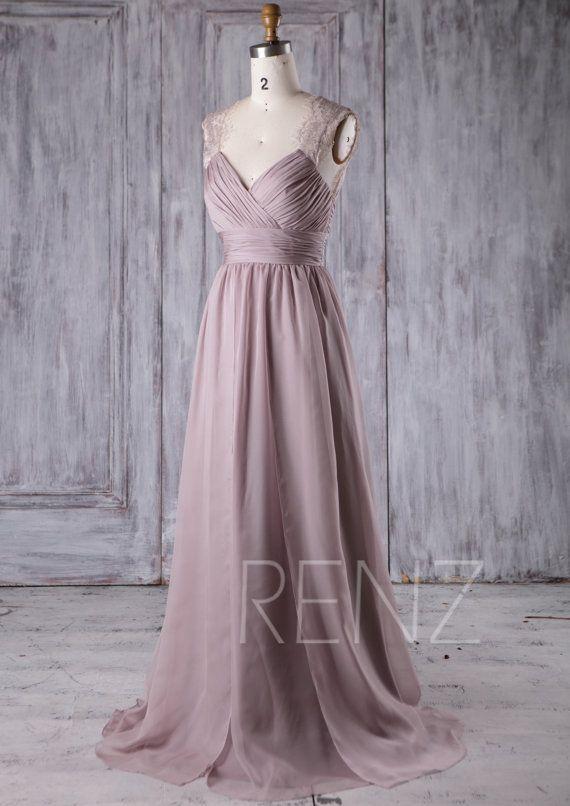 Bridesmaid Dress Rose Gray Chiffon Dress,Wedding Dress,Ruched V Neck ...
