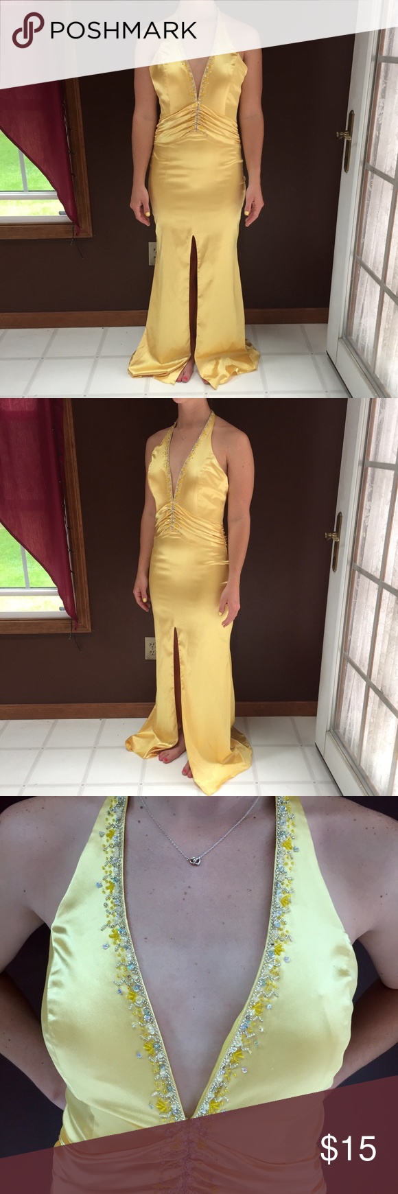 Yellow low cut vneck jeweled gown my posh picks pinterest