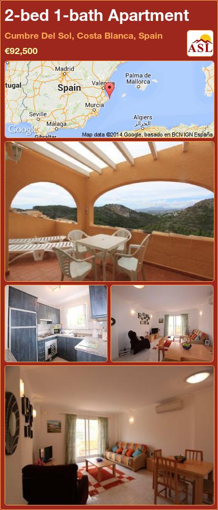 2-bed 1-bath Apartment in Cumbre Del Sol, Costa Blanca, Spain ►€92,500 #PropertyForSaleInSpain