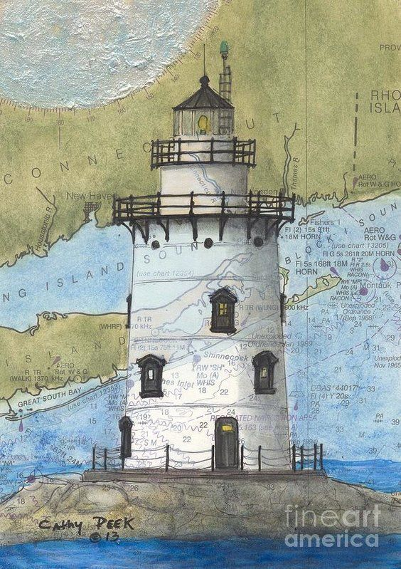 Saybrook Lighthouse CT Cathy Peek Nautical Chart Map Art Poster by Cathy Peek