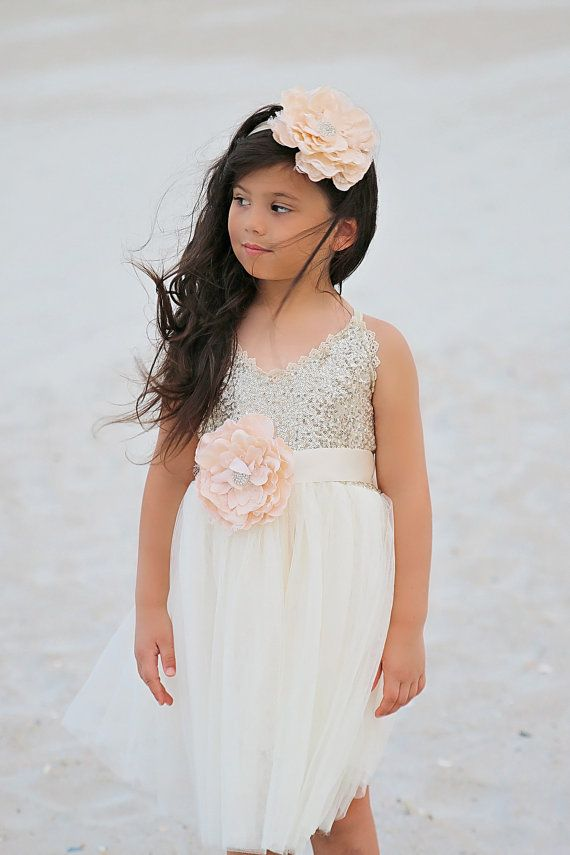 0b8c6701464 Gold Ivory Tulle Flower Girl Dress Headband set Gold sequin etsy store and  accepts returns exchanges