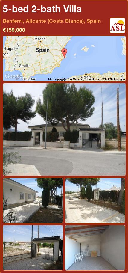 5-bed 2-bath Villa in Benferri, Alicante (Costa Blanca), Spain ►€159,000 #PropertyForSaleInSpain