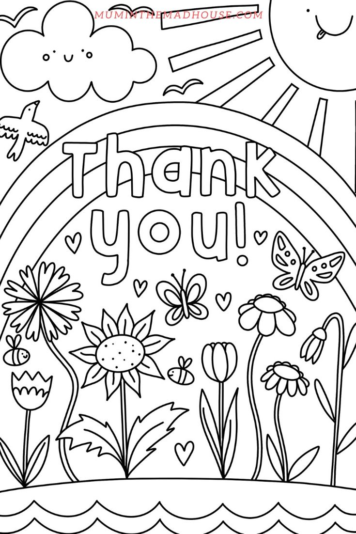 Unicorn Thank You Coloring Page Collection