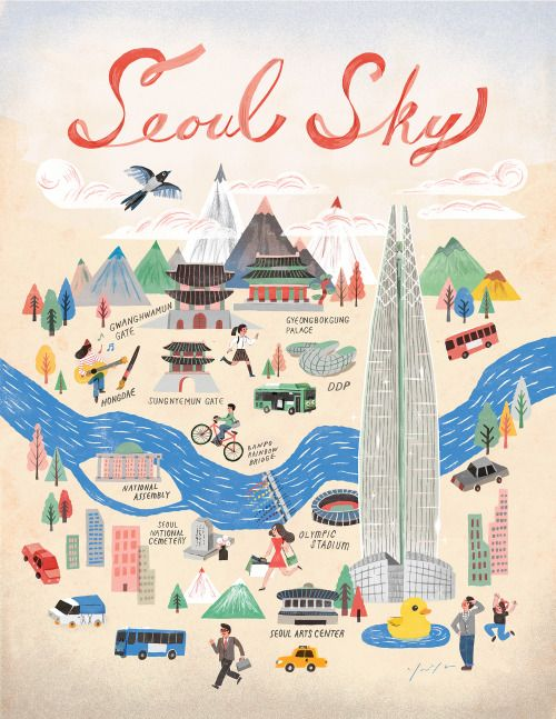 Seoul city a poster of seoul for promoting lotte world tower seoul city a poster of seoul for promoting lotte world tower gumiabroncs Images