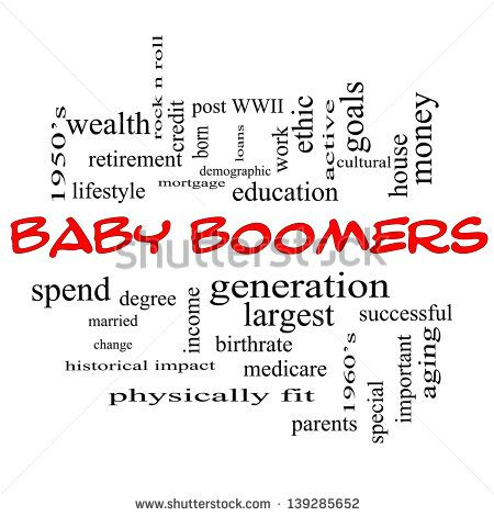 Baby Boomers Word Cloud Concept in red caps with great ...