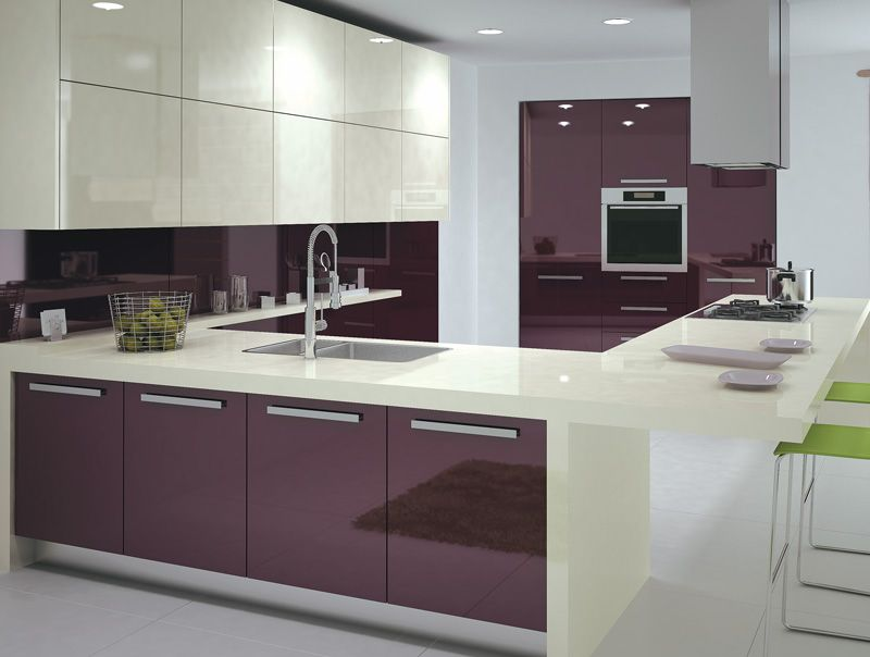 Purple High Glossy Kitchen Design Ipc408 Gloss Cabinet Ideas 2017 Al Habib Panel Doors