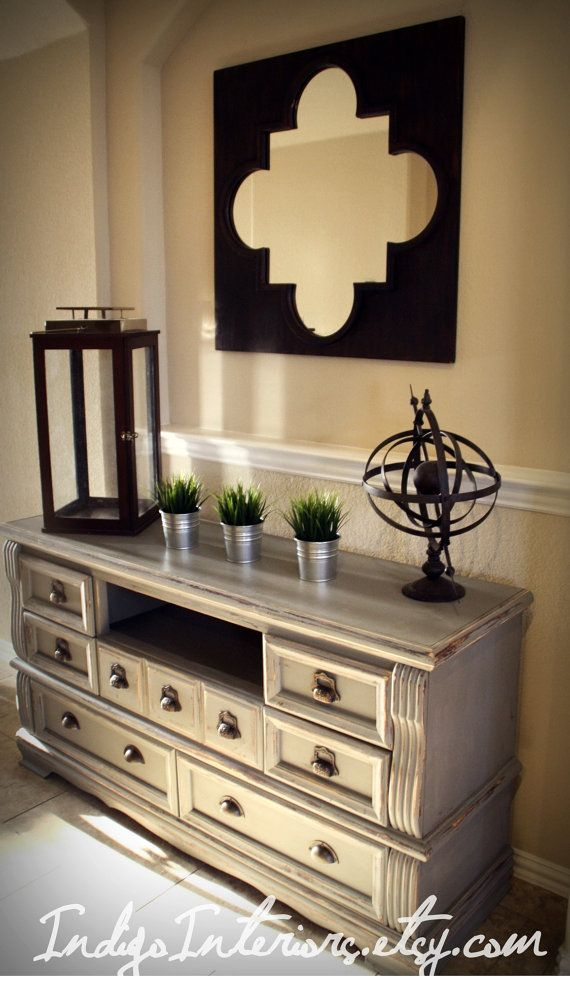 shabby chic gray dresser buffet changing table or tv. Black Bedroom Furniture Sets. Home Design Ideas