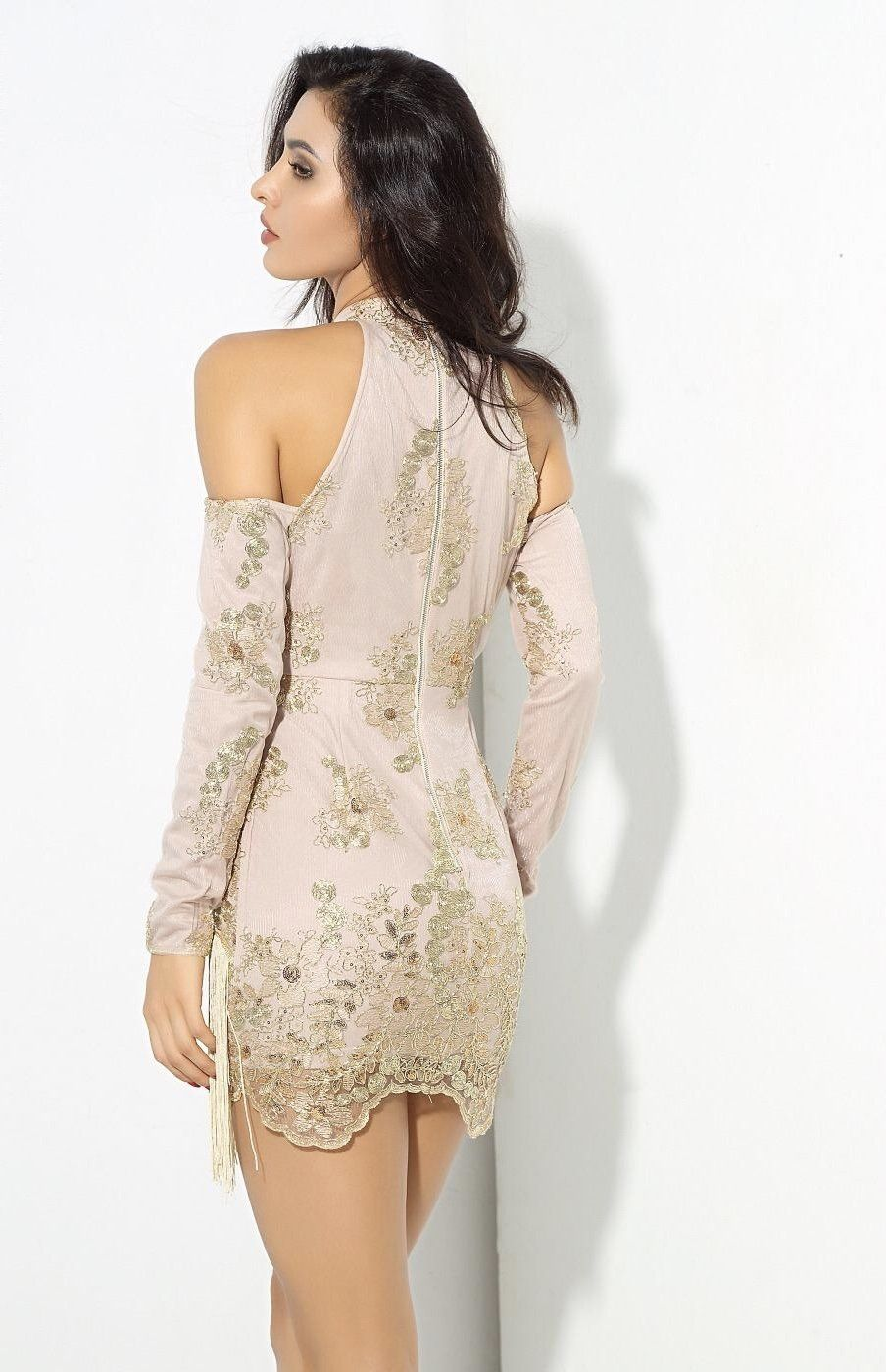 Modern renaissance gold cold shoulder long sleeve mini dress