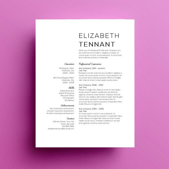 Resume Template Cover Letter Instant Download  Template Design