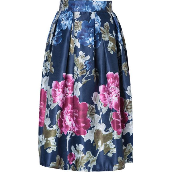 Navy Floral Print Elastic Waist A-line Skirt ($28) ❤ liked on Polyvore featuring skirts, elastic waist a line skirt, elastic waistband skirt, floral print skirt, navy floral skirt and blue skirt