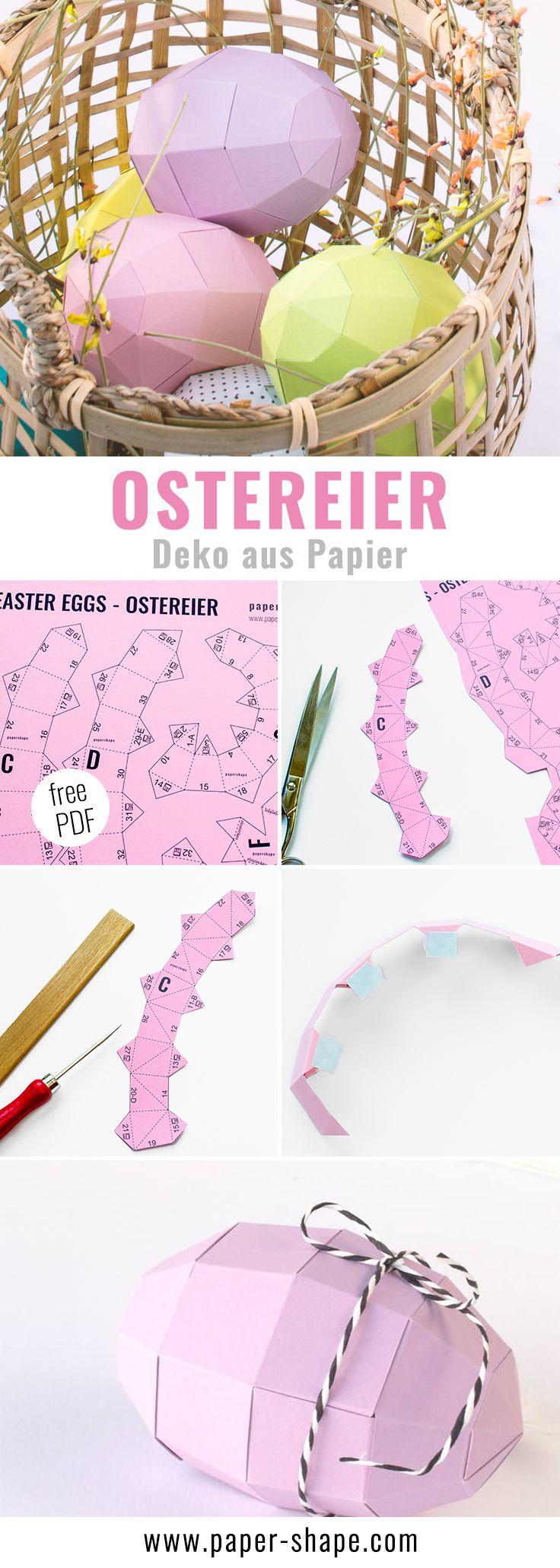Ostereier basteln mit Papier (mit Vorlage)