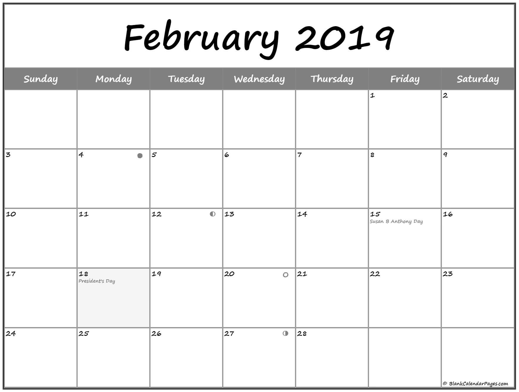 February 2019 Printable Moon Calendar February 2019 Calendar with Holidays India | 175+ Best February