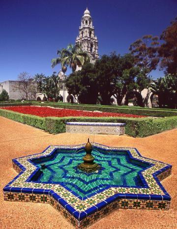Balboa Park  Alcazar Garden and the iconic California Tower