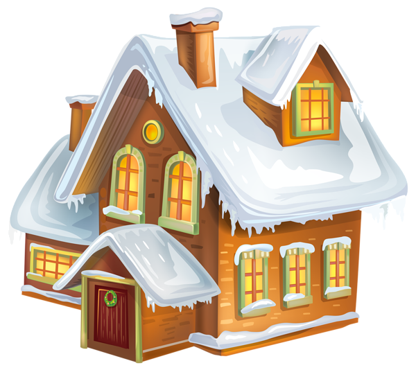 Christmas Winter House Transparent PNG Clip Art Image