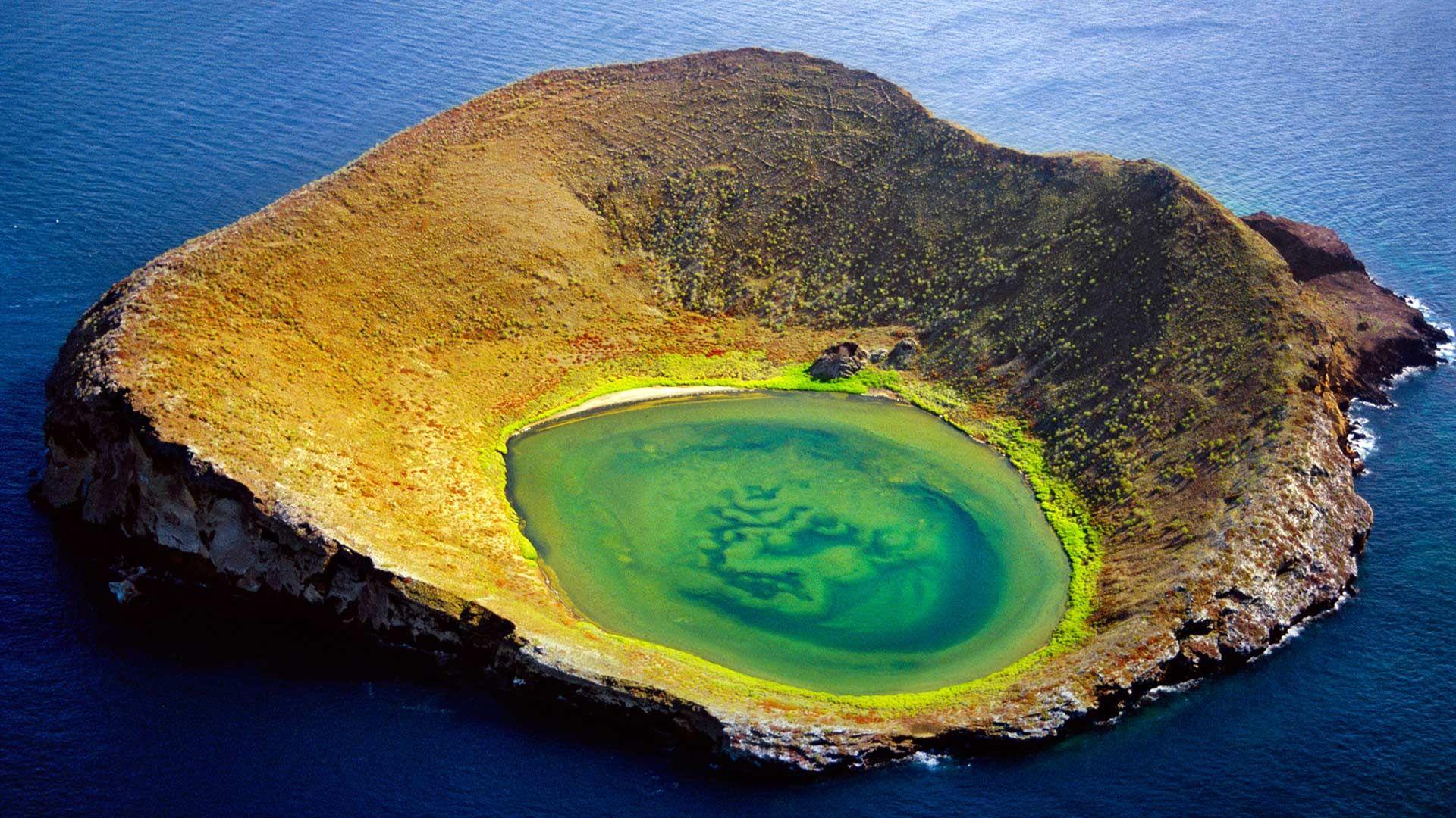 Volcanic Crater Off Santiago Island, Gal Pagos Islands, Ecuador ~
