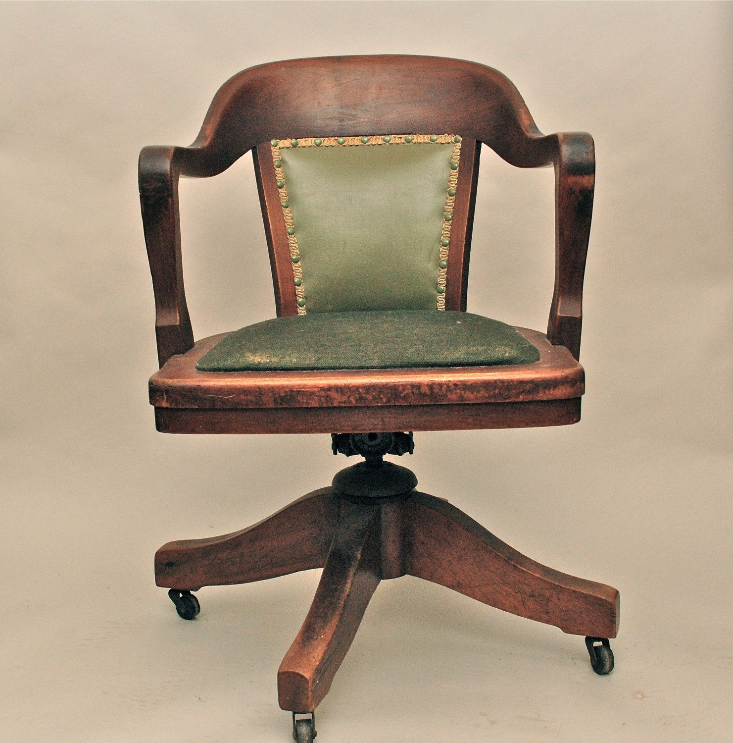 antique office chair Vintage Antique Wooden Swivel Bankers or Library Chair