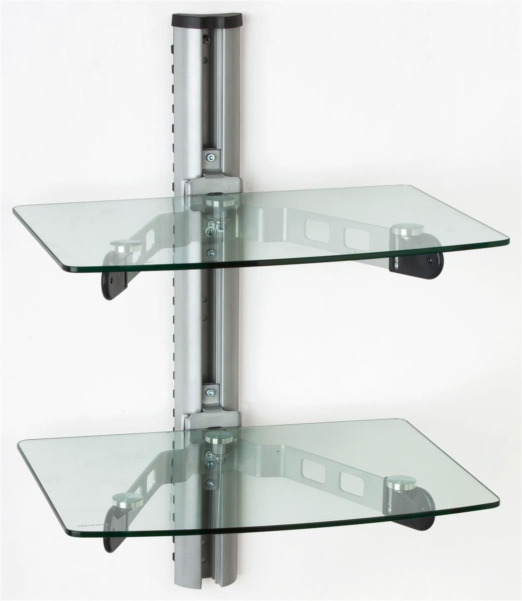 Glass Tv Shelf For Wall Mount Adjustable In Post Cable Management Glass Shelves Kitchen Glass Shelves Glass Shelf Brackets