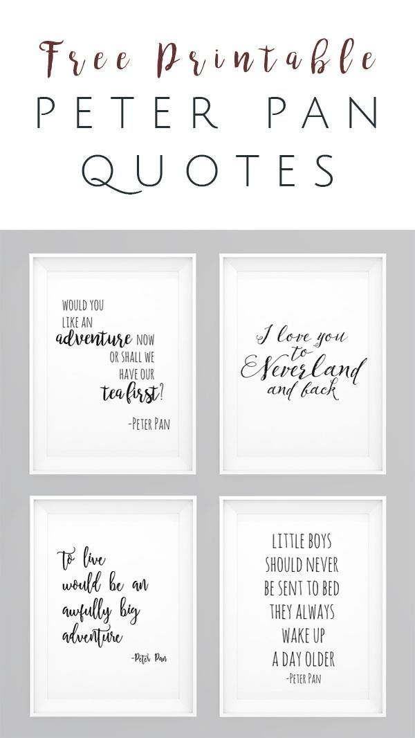 Peter Pan movie quotes FREE Printables - Set of 4 - perfect wall art
