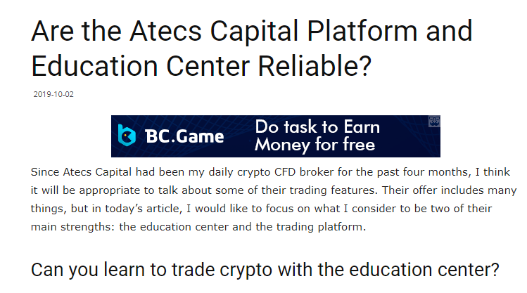 Are The Atecs Capital Platform And Education Center Reliable