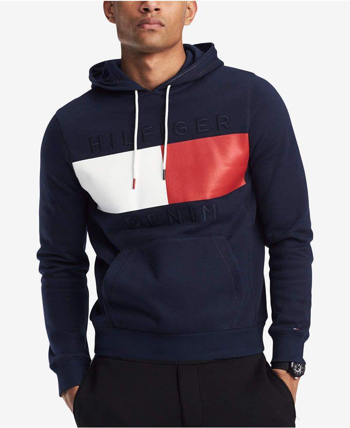 Blue Tommy Hilfiger Men/'s Logo Zip Hoodie