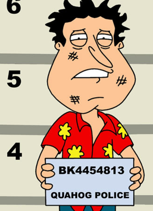 Family Guy's Quagmire's Hawaiian Shirt Mug Shot. www