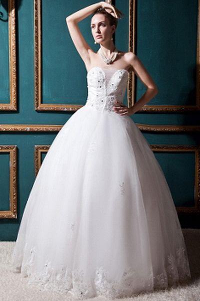Tüll Weiß Ballkleid Brautkleid kv0147 - Silhouette: Ballkleid, Stoff ...