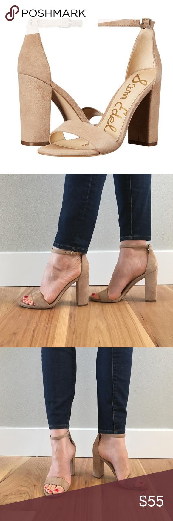 207b069f840a59 Sam Edelman Yaro Heel Sam Edelman nude oatmeal colored suede Yaro block heel  with ankle