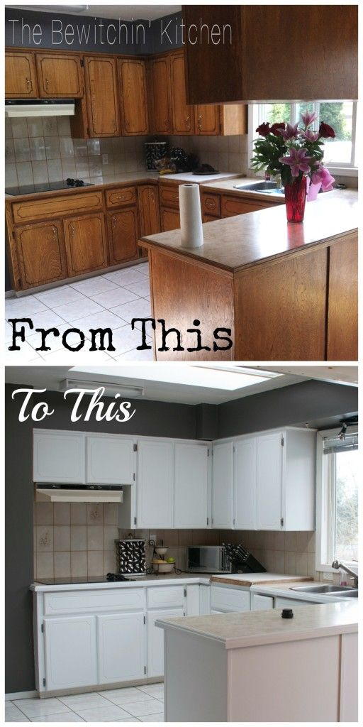 Painting Kitchen Cabinets: How I Transformed My 1970′s Oak Cabinets ...