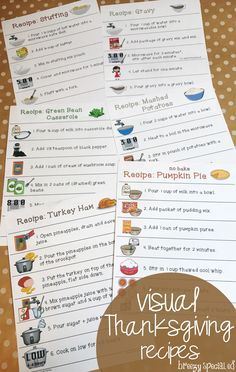 Cook a Thanksgiving feast with your special education class using these visual, symbol supported recipes! Microwave / no-bake AND full kitchen recipes available. Also included are recipe review quizzes