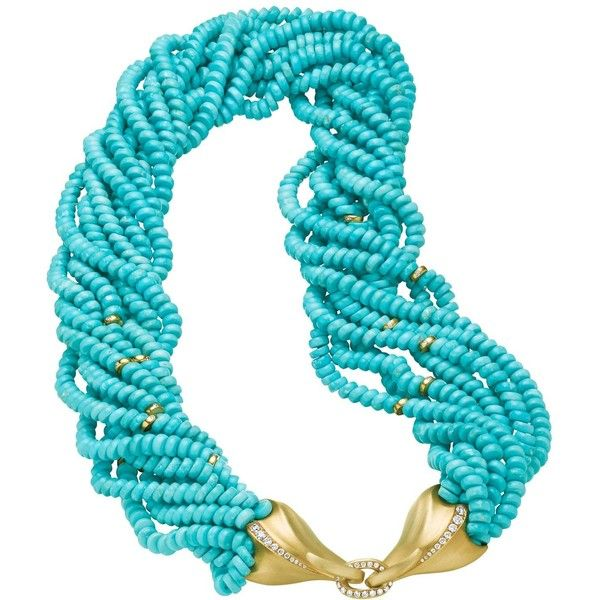 Preowned Naomi Sarna Turquoise Diamond Gold Necklace (306.470 ARS) ❤ liked on Polyvore featuring jewelry, necklaces, multiple, 18k gold necklace, 18k yellow gold necklace, yellow gold diamond necklace, gold diamond necklace and 18 karat gold necklace