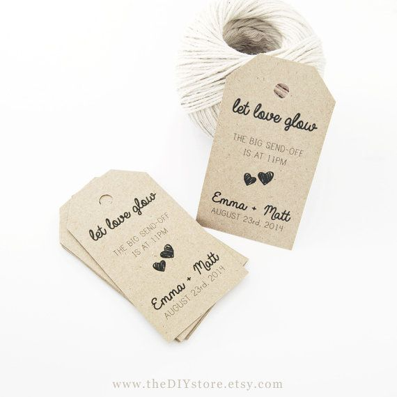 Favor Tag Template Medium Two Small Hearts Wedding Sparklers