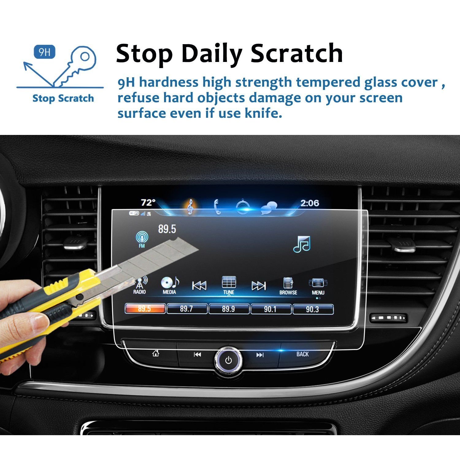 20182019 Buick Encore 8inch Car Navigation Screen Protector Lfotpp Clear Tempered Glass Infotainment Display Indash Car Navigation Infotainment Tempered Glass