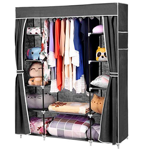 Homdox 66inch Portable Wardrobe Metalfabric Closet Organizer