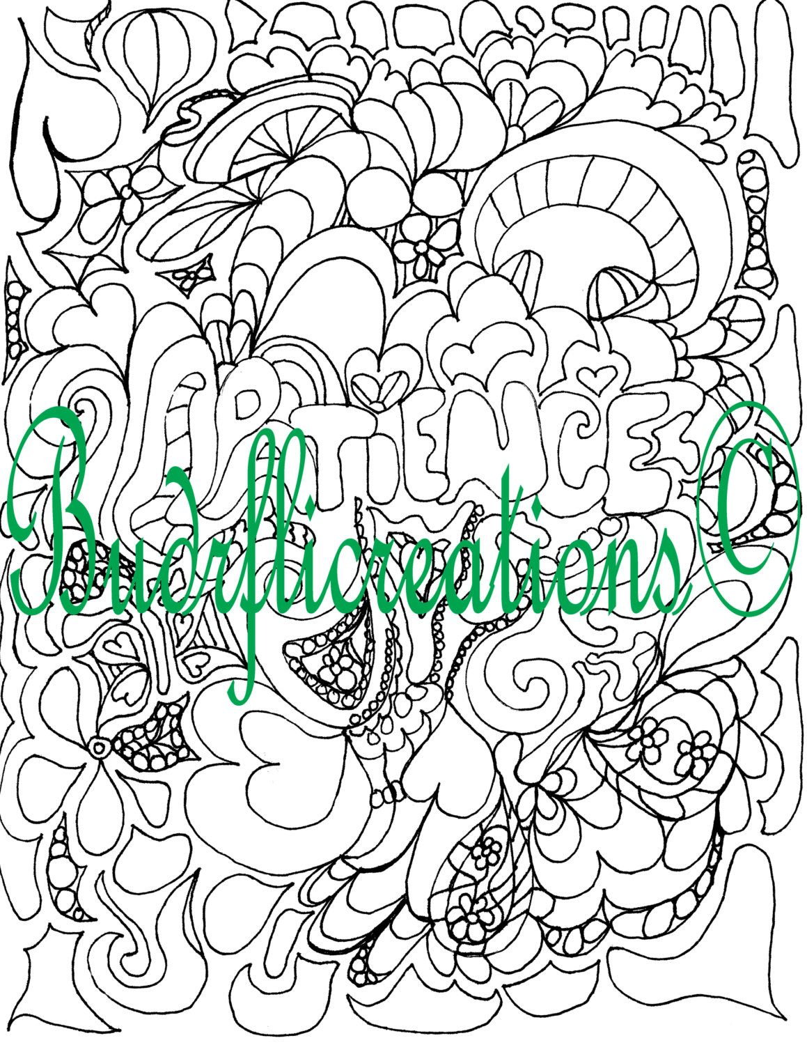 Patience Adult Coloring Page Instant Downloadable Image Fruits Of