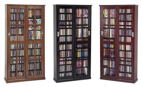 Sliding Glass Door 700 Cd 336 Dvd Storage Cabinet New Dvd Storage