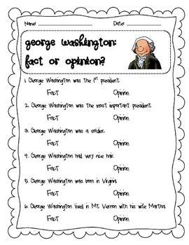 George Washington Fact And Opinion Lesson