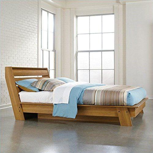 Sauder Soft Modern Platform Bed, Queen, Pale Oak
