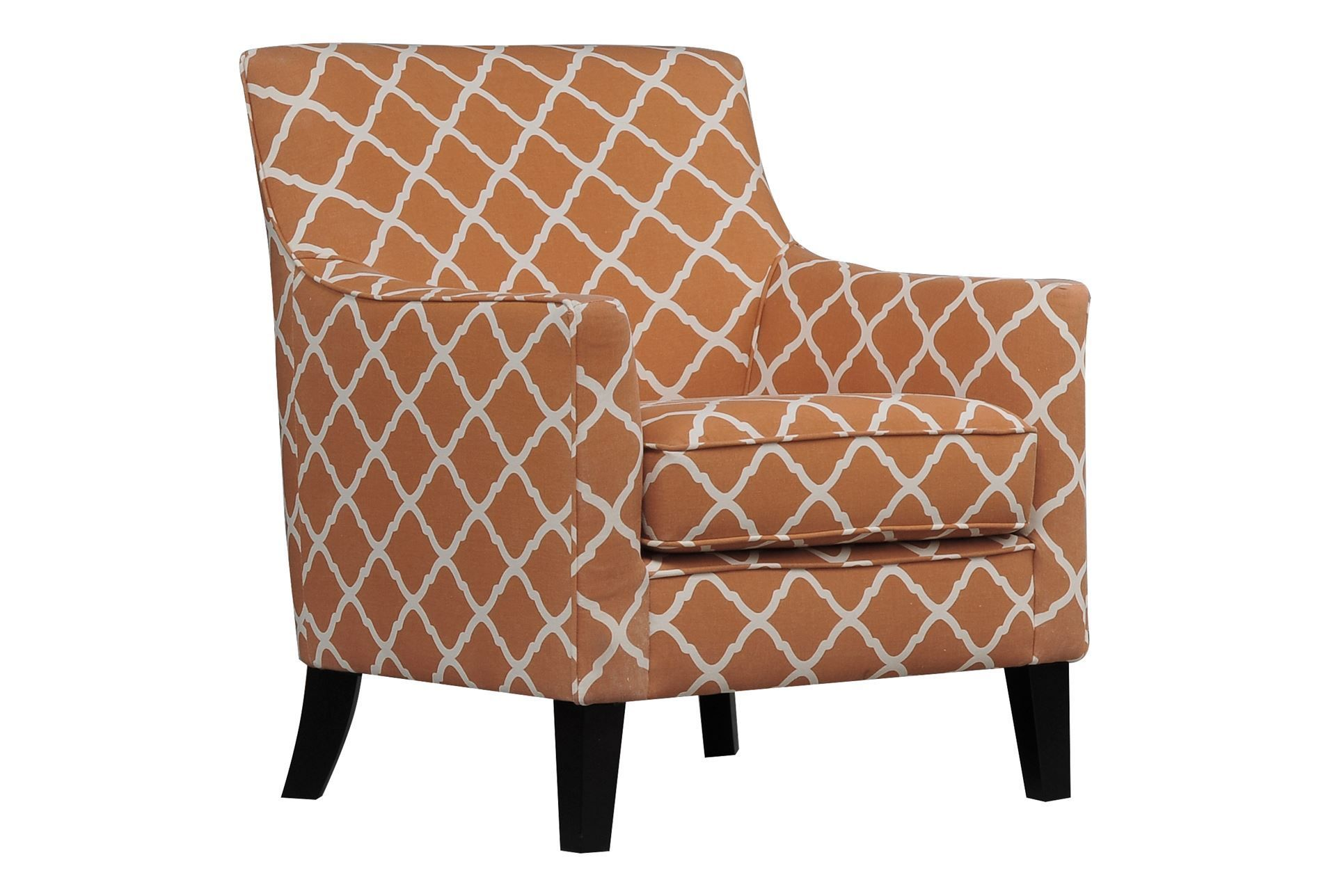 Spice up your space with the Kendall Orange accent chair. The trellis pattern is sure to turn heads. Shop online now. #LivingSpaces  sc 1 st  Pinterest & Spice up your space with the Kendall Orange accent chair. The ...