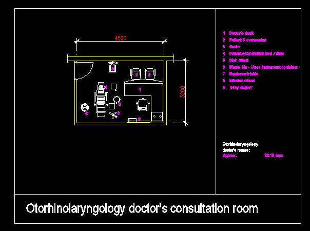 Cad Drawing Hospital Clinic Room Otorhinolaryngology
