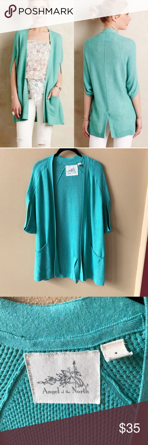 Angel of the North Chrysalis aqua cardigan sweater Size Medium  Very Good condition   Item 0509 Anthropologie Sweaters Cardigans