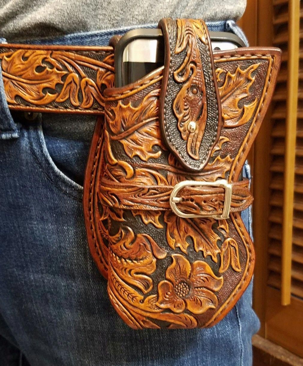 hand made,hand carved,hand tooled Cell phone case for # ...